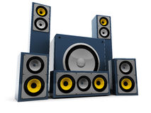 Audio system. 3d illustration of modern audio system over white background Stock Photos