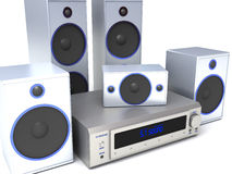 Audio system. 3d render of home theater audio system Royalty Free Stock Images