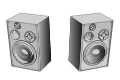 Audio system. Equipement - 3d isolated illustration on white (with vector EPS format Stock Images