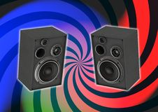 Audio system. Equipement with retro twirl background Royalty Free Stock Photography