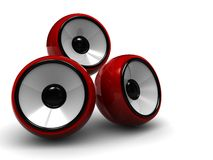 Audio system. Abstract 3d illustration of sound system, three modern speakers vector illustration