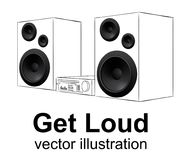 Audio system, hand drawing music center on white, realistic speakers vector illustration. Stock Photo