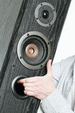 Audio system in the hands. Stock Photography