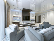 Free Audio System With TV And Shelves In The Living Room Contemporary Royalty Free Stock Photos - 70496558