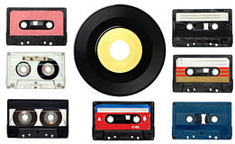 Audio tape. Collection of various vintage audio tapes on white background. each one is shot separately Royalty Free Stock Image