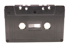 Audio tape. Black audio casette tape isolated on white Royalty Free Stock Images