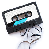 Audio tape blank label rolled out isolated white playlist Royalty Free Stock Images