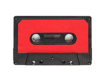 Audio tape cassette. A vintage audio tape cassette isolated over white background Royalty Free Stock Photography