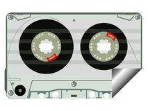Audio tape label. Isolated on white background, abstract vector art illustration Royalty Free Stock Photo