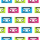 Audio tape vector neon seamless pattern. Pink, blue and green tapes in a row 80s pop culture background Royalty Free Illustration