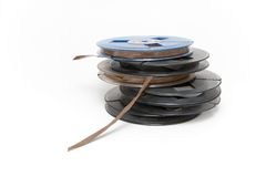 Audio Tapes. Small professional audio tape reels Royalty Free Stock Photo