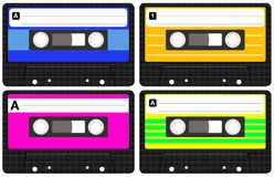 Audio Tapes. Set of four isolated blank retro audio cassette tapes vector illustration