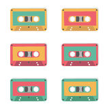Audio tapes of different colours. Technology 80s. Royalty Free Stock Images