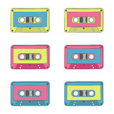 Audio tapes of different colours. Technology 70s. Royalty Free Stock Images