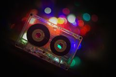 Audio tapes for tape recorder. 70s 80s 90s bokeh vintage fashion old retro wallpaper background closeup nostalgia music sound style Royalty Free Stock Images