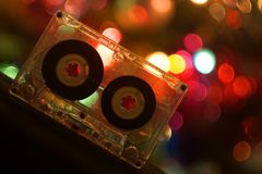 Audio tapes for tape recorder. 70s 80s 90s bokeh vintage fashion old retro wallpaper background closeup nostalgia music sound style Stock Photos
