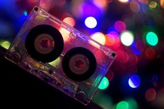 Audio tapes for tape recorder. 70s 80s 90s bokeh vintage fashion old retro wallpaper background closeup nostalgia music sound style Stock Photography