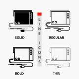 audio, tarjeta, externo, interfaz, icono de los sonidos en línea y estilo finos, regulares, intrépidos del Glyph Ilustraci?n del  libre illustration