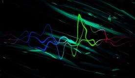 Audio tecnologia digitale dell'equalizzatore, musical di impulso Onde sonore variopinte dell'estratto per il partito, DJ, pub, cl fotografie stock