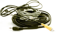 Audio and telephone cords Royalty Free Stock Photo