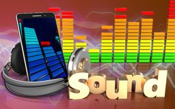 Audio'Ton' Zeichen des spektrums 3d Stockbilder
