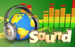 Audio'Ton' Zeichen des spektrums 3d Lizenzfreie Abbildung
