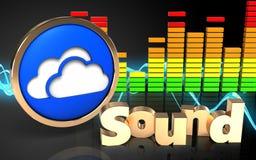 Audio'Ton' Zeichen des spektrums 3d Stock Abbildung