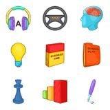Audio training icons set, cartoon style Stock Photos