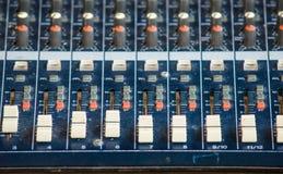 Audio transmission, sound studio adjusting Stock Photo