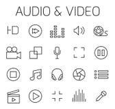 Audio- und in Verbindung stehender Vektorikonenvideosatz lizenzfreie abbildung