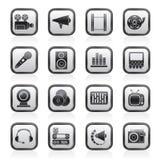 Audio- und videoikonen Lizenzfreie Stockfotografie