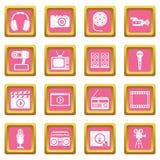 Audio- und Videoikonenrosa Lizenzfreie Stockfotos