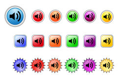 Audio vector buttons set. Set of 3 types of vector audio buttons in 6 different color Vector Illustration