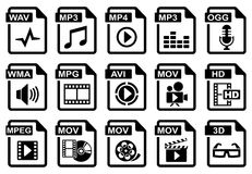 Audio & video. File type icons: audio & video set. All white areas are cut away from icons and black areas merged royalty free illustration