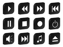 Audio video 3d icon black Royalty Free Stock Image
