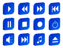 Audio video 3d icon blue Stock Photo