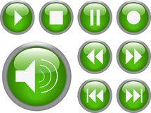 Audio/ video buttons. In green and white Stock Photography