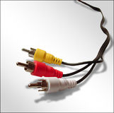 Audio Video Cable. Red, Yellow and White Audio Video Television Cable Royalty Free Stock Photography
