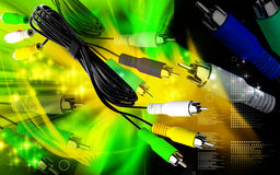Audio/Video cable. Digital illustration of Audio/Video cable in colour background stock illustration