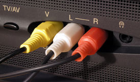 Audio and video cable connection Stock Image