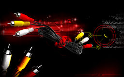 Audio/Video cable. Digital illustration of Audio/Video cable in colour background royalty free illustration