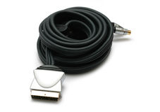 Audio Video Cable I. Audio video cable (scart) on white background stock photos