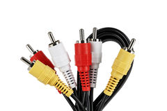 Audio video cable and plugs Royalty Free Stock Photo