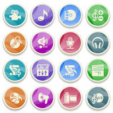 Audio video color icons. Royalty Free Stock Photo