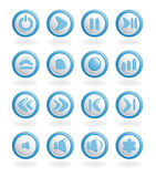 Audio-video control buttons. Stock Photo