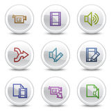 Audio video edit web colour icons, circle buttons stock illustration