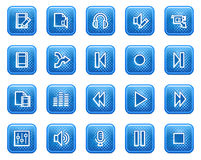 Audio video edit web icons. Vector web icons, blue square buttons with dots Royalty Free Stock Photo