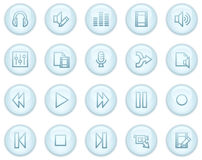 Audio and video edit web icons. Vector web icons, light blue circle buttons series Stock Photo
