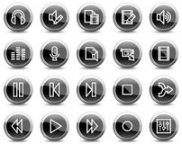 Audio video edit web icons, black circle buttons vector illustration