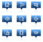 Audio video edit web icons, blue speech bubbles Stock Photo